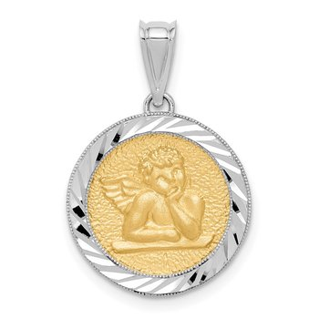 14K Two-tone Polished & Diamond-cut Bezel Angel Pendant