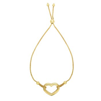 14K Gold Heart Friendship Bracelet