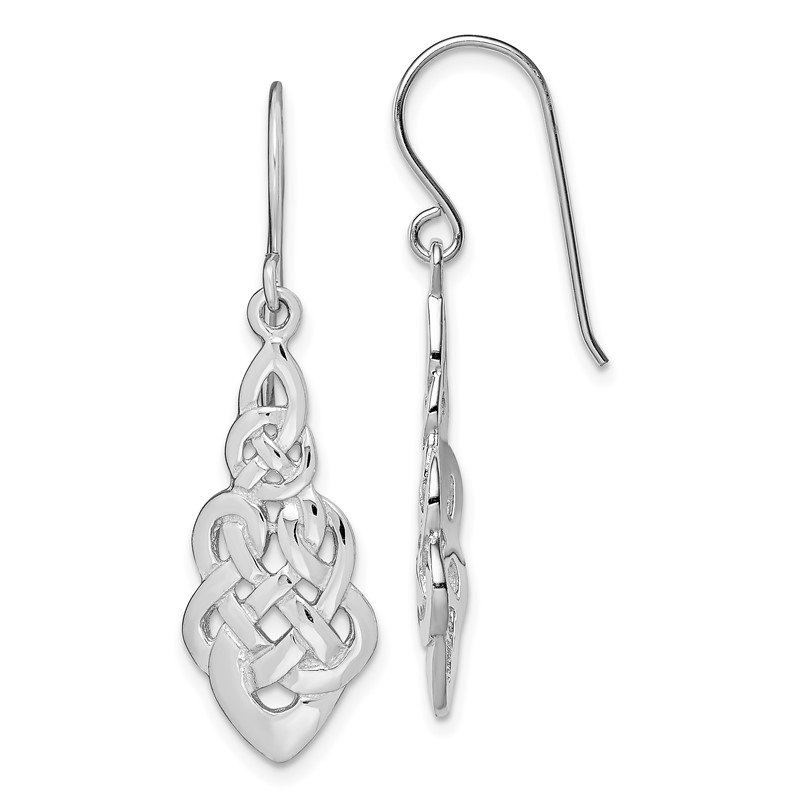 Quality Gold Sterling Silver RH-plated Polished Celtic Knot Dangle Earrings
