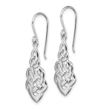 Sterling Silver RH-plated Polished Celtic Knot Dangle Earrings