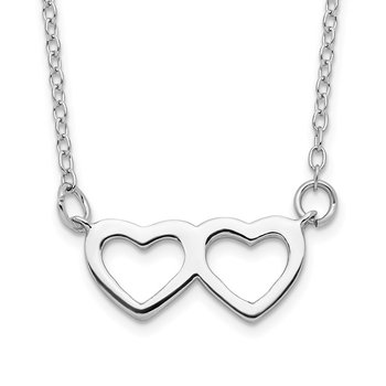 Sterling Silver Rhodium-plated w/ 2in ext. Heart Necklace
