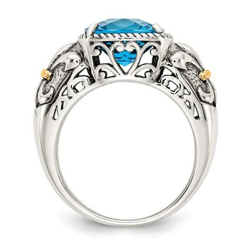 Sterling Silver w/14k Blue Topaz Ring