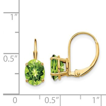 14k 8x6mm Oval Peridot Leverback Earrings