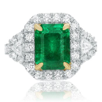 Prong Set Emerald Side Stone Ring