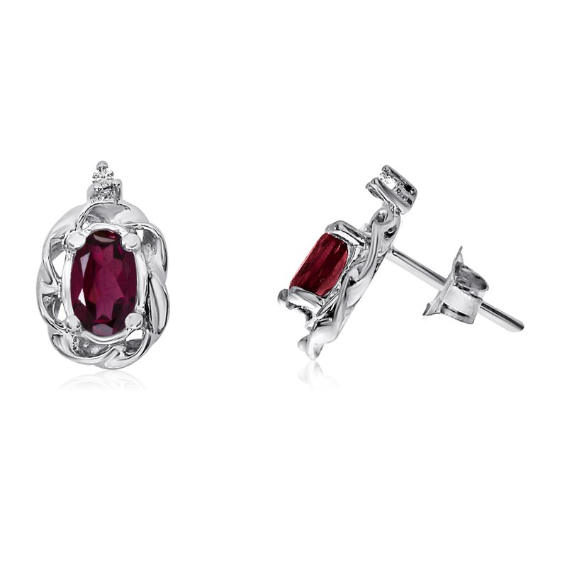 Color Merchants 14k White Gold Ruby Scroll Diamond Earrings
