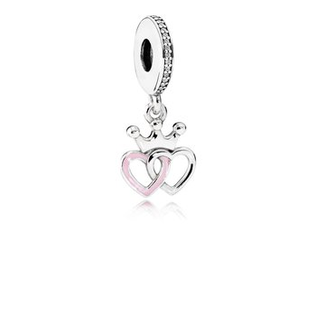 Crowned Hearts, Orchid Pink Enamel & Clear CZ