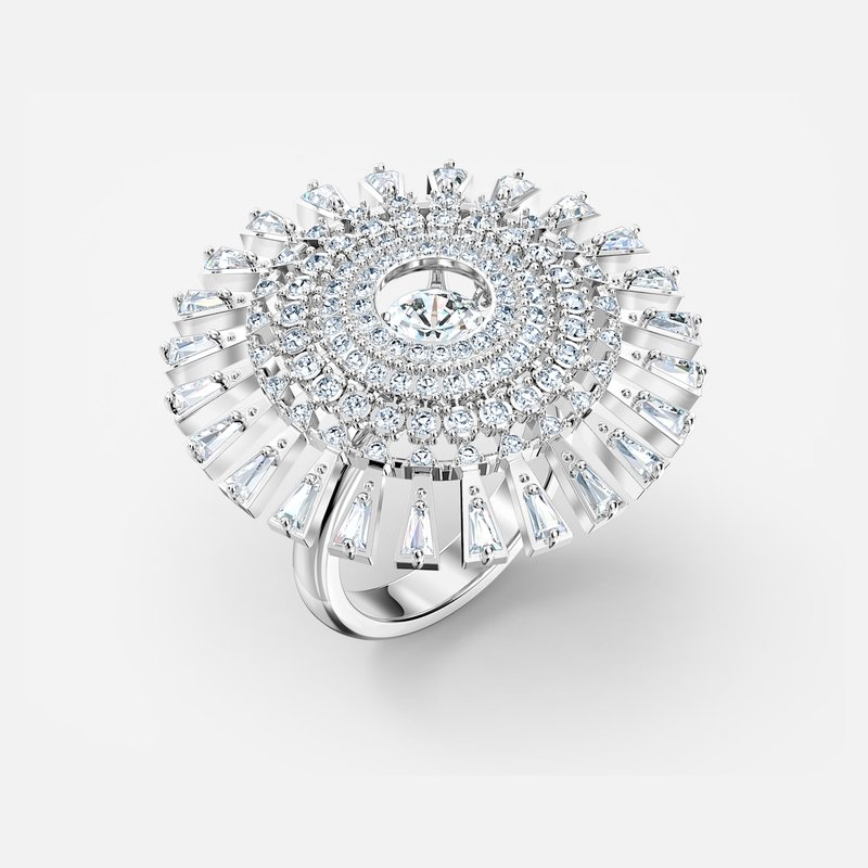 Swarovski Sparkling Dance Dial Up Ring, White, Rhodium plated