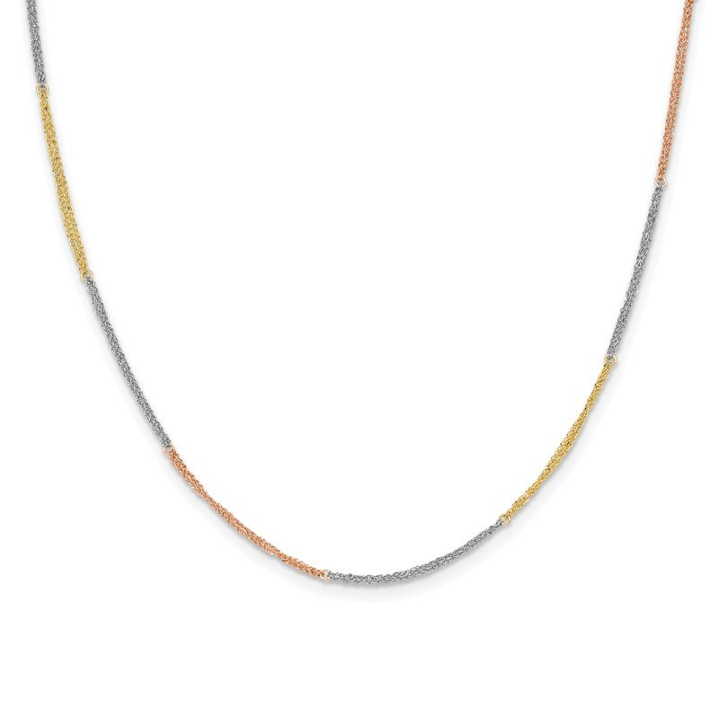 Quality Gold 14k Tri-color Section Strands w/ 2in Ext Necklace