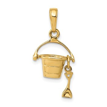 14k 3-D Beach Bucket with Shovel Charm