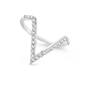 "Diamond Contemporary ""V"" Ring in 14K White Gold with 25 Diamonds Weighing .25ct tw"