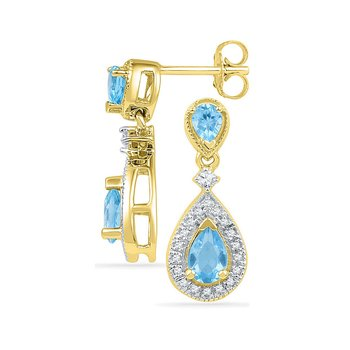 10kt Yellow Gold Womens Pear Lab-Created Blue Topaz Dangle Diamond Earrings 1-1/2 Cttw