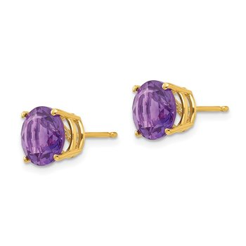 14k 8mm Amethyst Post Earrings