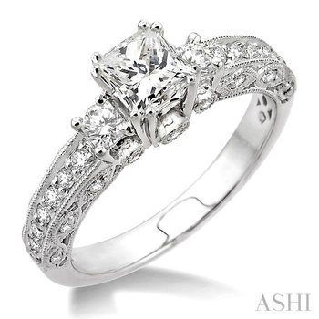 past present & future semi-mount diamond engagement ring