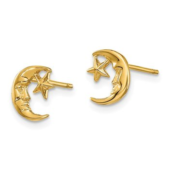 14k Moon and Star Post Earrings