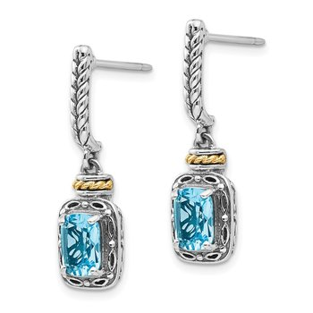 Sterling Silver w/14k Antiqued Blue Topaz Post Dangle Earrings