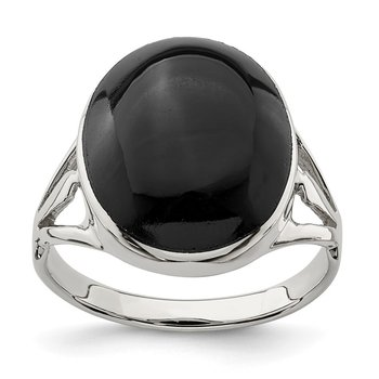 Sterling Silver Polished Black Onyx Oval Cut Ring