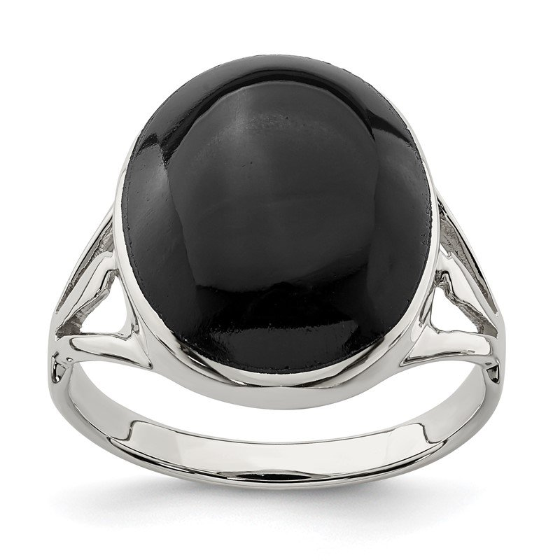 Quality Gold Sterling Silver Polished Black Onyx Oval Cut Ring