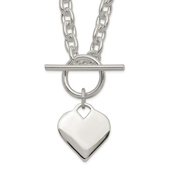 Sterling Silver Engraveable Heart Toggle Necklace