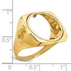 Quality Gold 14ky Men's Polished Horseshoe Side D/C 16.5mm Coin Bezel Ring