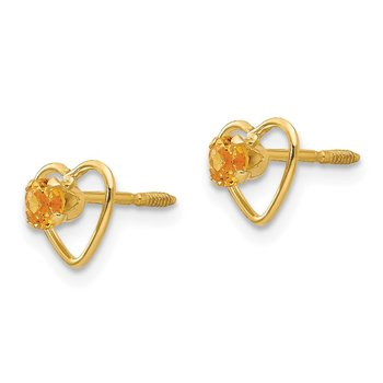 14k Madi K 3mm Citrine Birthstone Heart Earrings