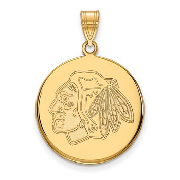 Gold-Plated Sterling Silver Chicago Blackhawks NHL Pendant