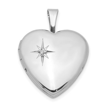 Sterling Silver Rhodium-plated & Dia. 16mm Polished Heart Locket