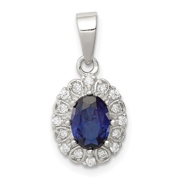 Sterling Silver Polished with CZ and Syn. Sapphire Pendant