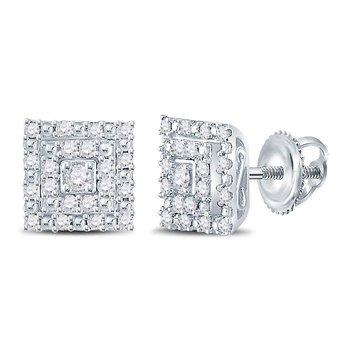 14kt White Gold Womens Round Diamond Square Cluster Stud Earrings 1/4 Cttw