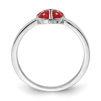 Sterling Silver Rhodium-plated Childs Enameled Ladybug Ring
