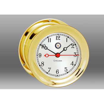 "US Navy 4 1/2"" Shipstrike Quartz Clock in Brass"