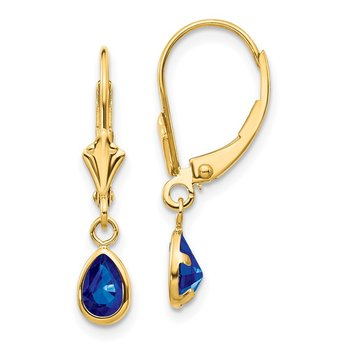 14k 6x4mm September/Sapphire Earrings