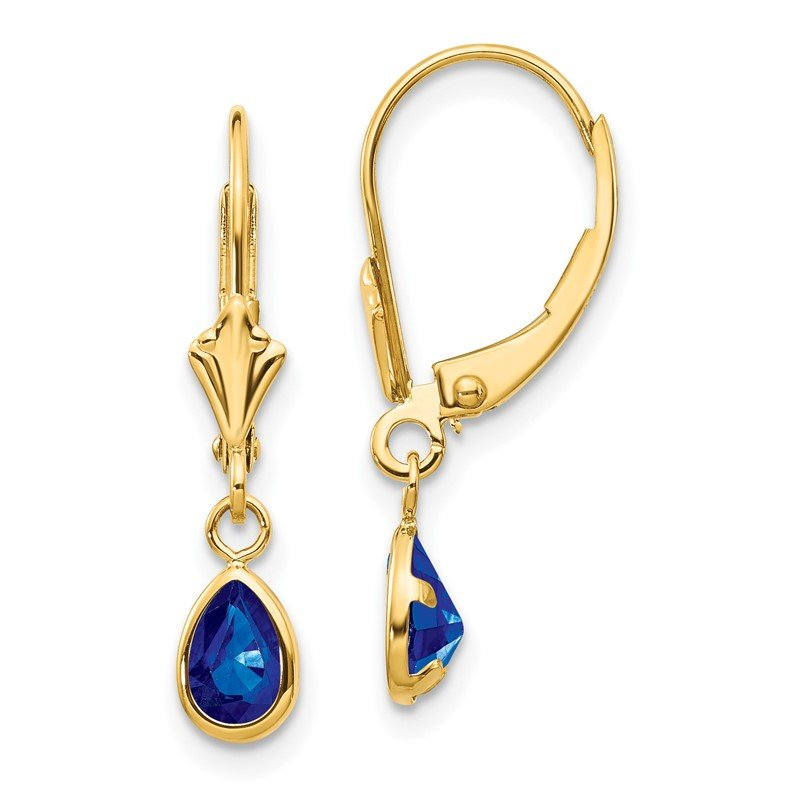 Quality Gold 14k 6x4mm September/Sapphire Earrings