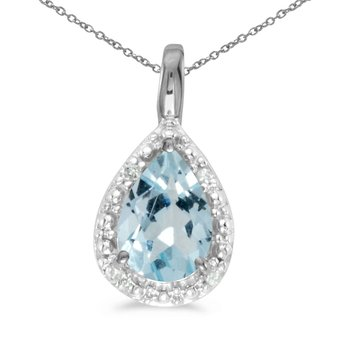 10k White Gold Pear Aquamarine Pendant