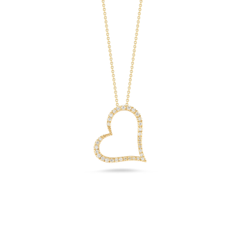 Slanted Heart Pendant With Diamonds &Ndash; 18K Yellow Gold