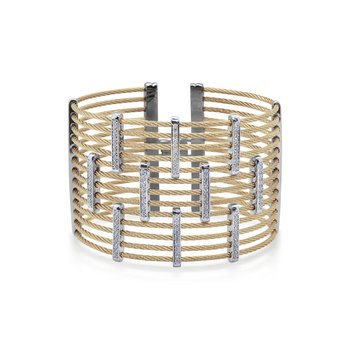 Carnation Cable Precision Cuff with 18kt White Gold & Diamonds