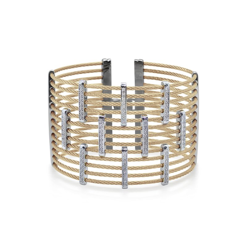 ALOR Carnation Cable Precision Cuff with 18kt White Gold & Diamonds