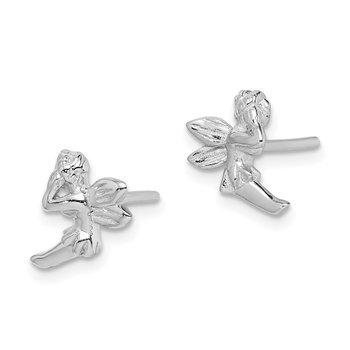 Sterling Silver Rhodium-plated Fairy Post Earrings