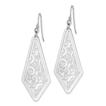 Sterling Silver Rhodium-plated Polished Etched Dangle Earrings