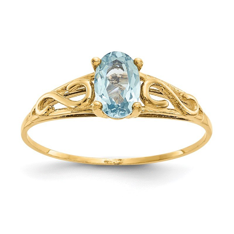 Quality Gold 14k Madi K Synthetic Aquamarine Ring