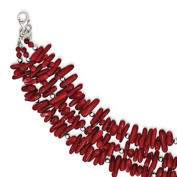 Sterling Silver Red Coral 3-Strand w/2in ext Necklace
