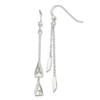 Sterling Silver 3-D Triangle Dangle Earrings
