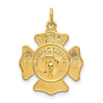24k Gold-plated Sterling Silver Saint Florian Fireman's Badge Medal