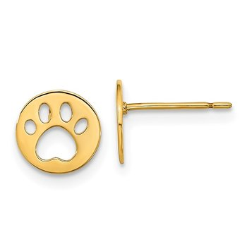 14k Madi K Kids Pawprint Post Earrings