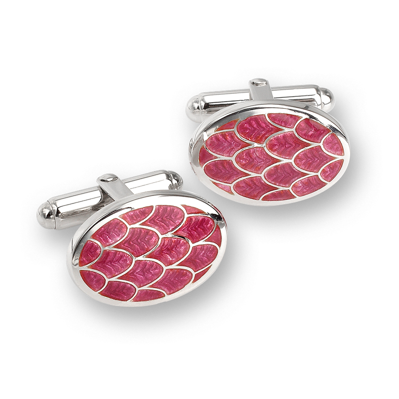 Nicole Barr Designs Red Oval Scallop T-Bar Cufflinks.Sterling Silver