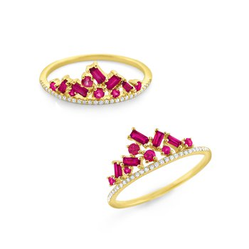 Ruby & Diamond Crown Ring Set in 14Kt. Gold