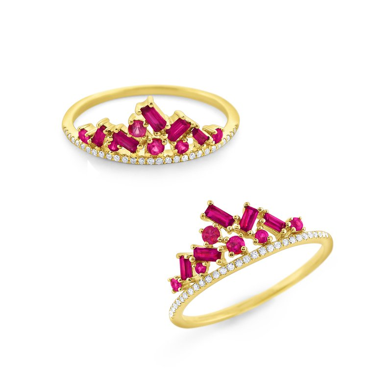 KC Designs Ruby & Diamond Crown Ring Set in 14Kt. Gold