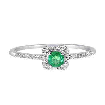 14k White Gold Emerald and .11 ct Diamond Ring