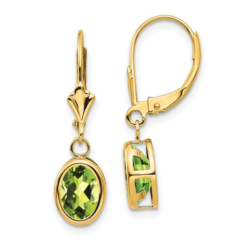 Quality Gold 14k 8x6mm Oval Peridot Leverback Earrings