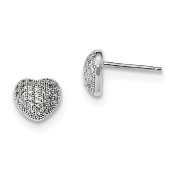 Sterling Silver & CZ Brilliant Embers Polished Heart Post Earrings