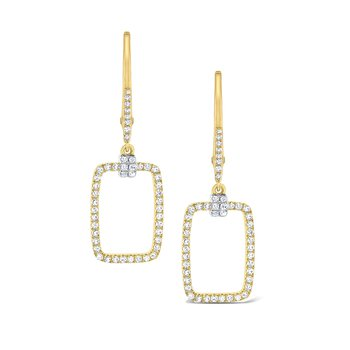 Diamond Rectangular Frame Earrings Set in 14 Kt. Gold